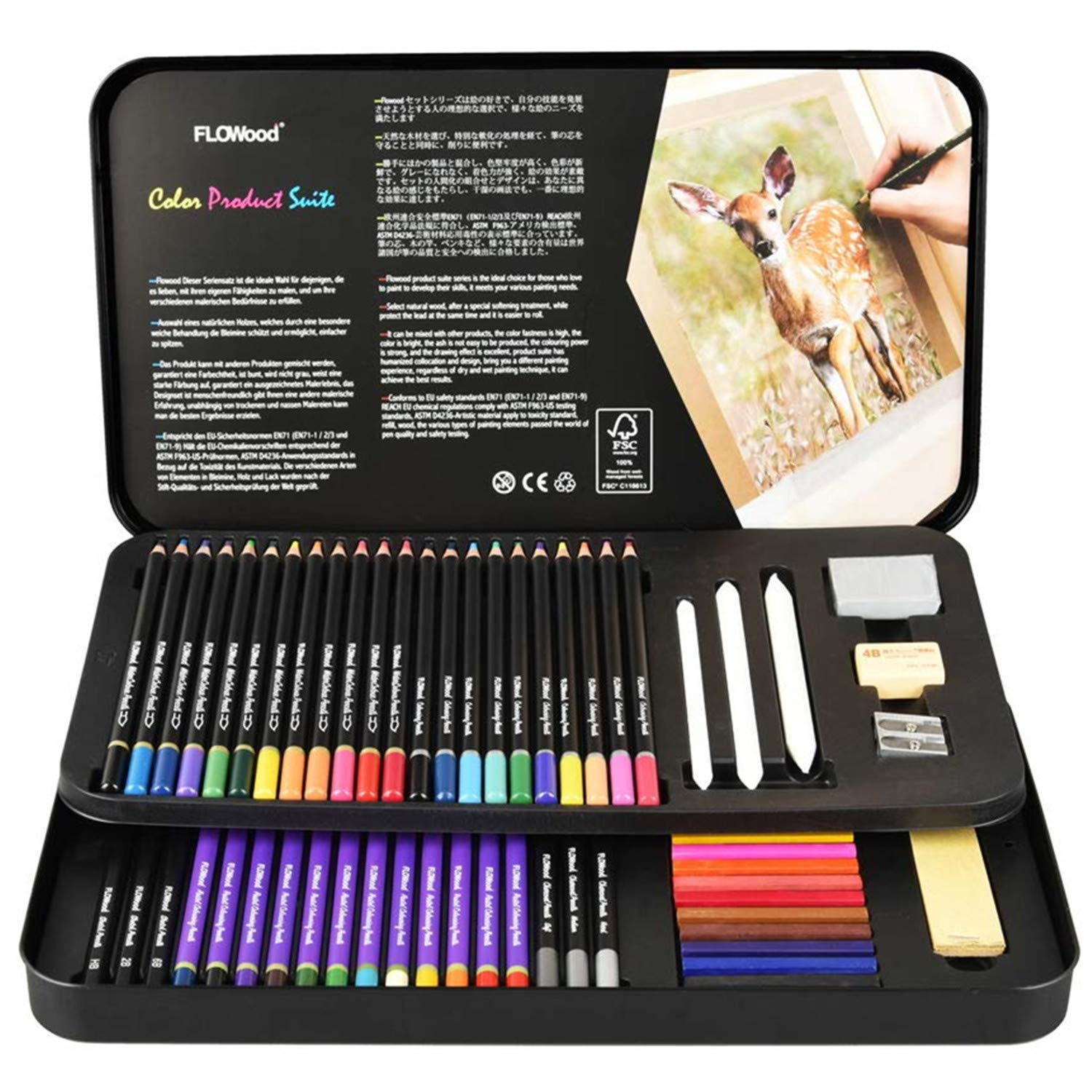 Flowood 63 Piece Art Supply Colored Pencils Set, Soft Core Watercolor Pencils for Art Kit for Kids, Teens and Adults with Pastel Pencils,Sketch Pencils,Pastels Sticks,Charcoal Pencils
