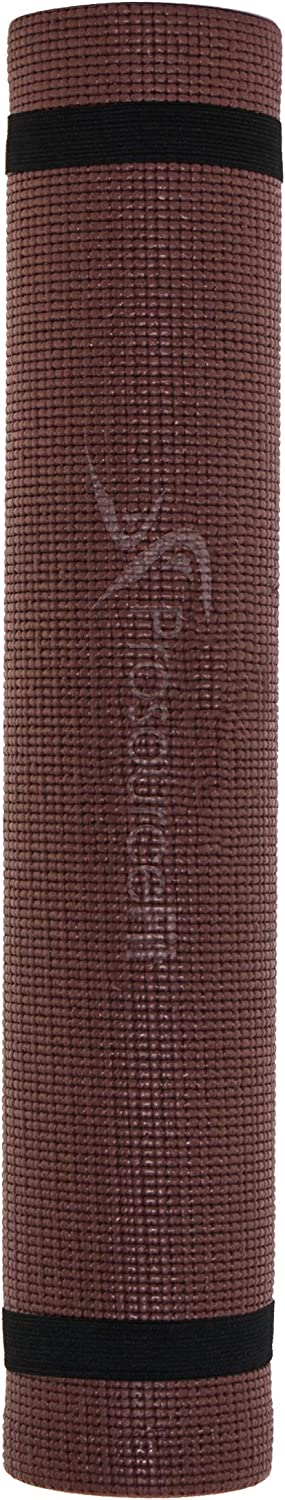 """ProsourceFit Original Yoga Mat ¼"""" Thick for Comfort and Stability with Carrying Straps, Brown/Pink : Sports & Outdoors"""