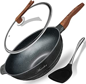 Wok Pan Nonstick 13.4 Inch Skillet, Aneder Frying Pan with Lid & Spatula Wok Pans for Cooking Electric, Induction & Gas Stoves, Oven Safe