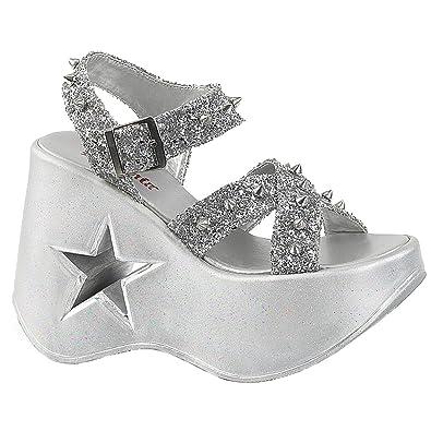 Demonia Damen Wedge Sandalen mit Nieten Dynamite-02 silber glitter