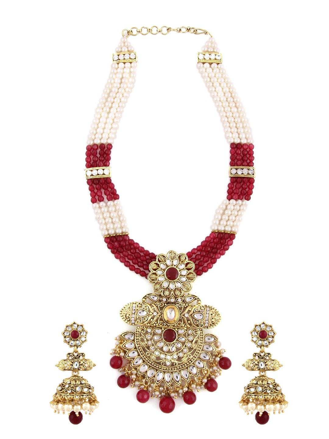 Rubans Gold Plated Traditional Indian Jewelry Set Bollywood Padmavati Ethnic Wedding Bridal Faux Ruby and Rhinestone Handcrafted Long Necklace Set for Women