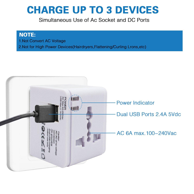Adaptador de Viaje Cargador de Pared con Doble Puerto de Carga USB y convertidor de enchufes Universal Valido para USA Azul AUS EU UK