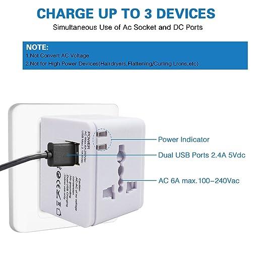 Adaptador de viaje, cargador de pared con doble puerto de carga USB y convertidor de enchufes universal. Valido para USA, EU, UK, AUS, móviles y portátiles ...