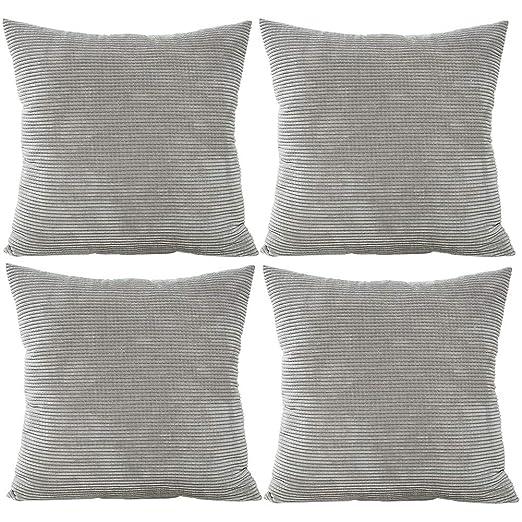 JOTOM Fundas de cojín de cintura de pana de color liso, núcleos de maíz Funda de almohada suave para sofá de sofá de casa decorativa, 45x45cm, juego ...