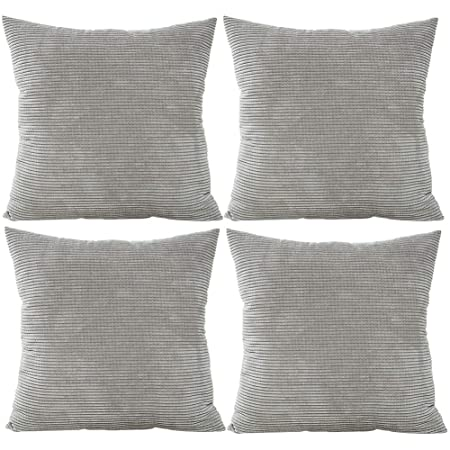 Jotom Solid Color Corduroy Waist Throw Pillow Case Corn Kernels Soft Cushion Cover For Home Decorative Couch Sofa 45x45cm Set Of 4 Grey
