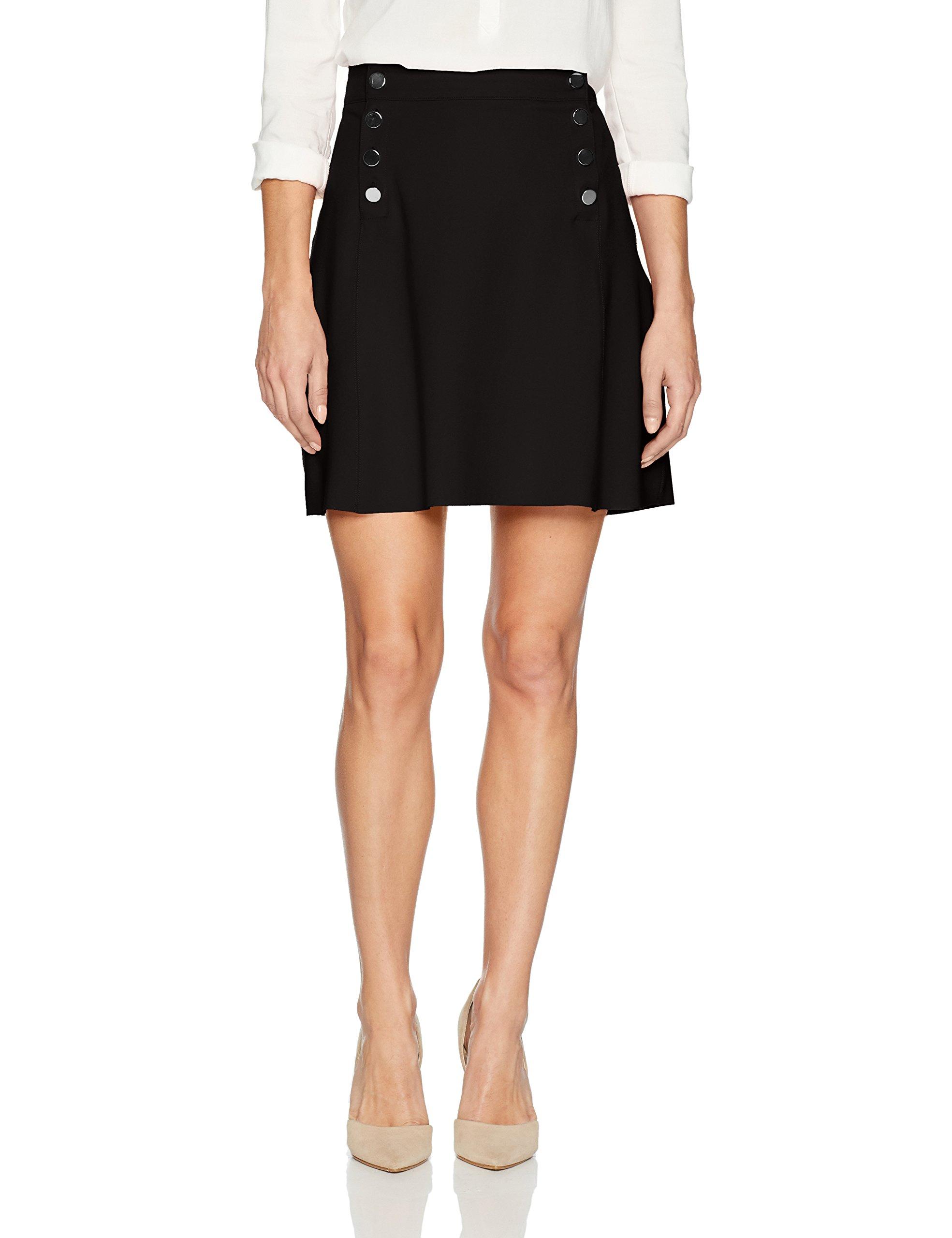 Three Dots Women's Ponte a-Line Loose Short Skirt, Black, Small