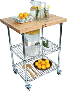 """product image for John Boos MET-MWC-1 Metropolitan Mobile Wire Cart with Maple Top, 27"""" Long, 21"""" Wide, 36"""" Height"""