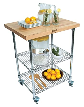 Lovely Rouge Et Noir Metro Wire Kitchen Cart With Wood Top