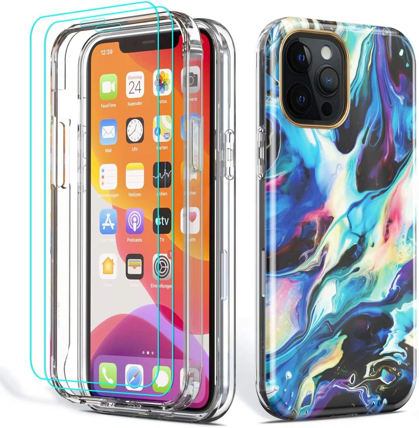 ROSEHUI Compatible with iPhone 11 Case,2PCS Tempered Glass Screen Protector,Glitter Marble Design for Women Girls Clear Bumper Rugged Shockproof Phone Protective Cover for iPhone 11 6.1 Inch