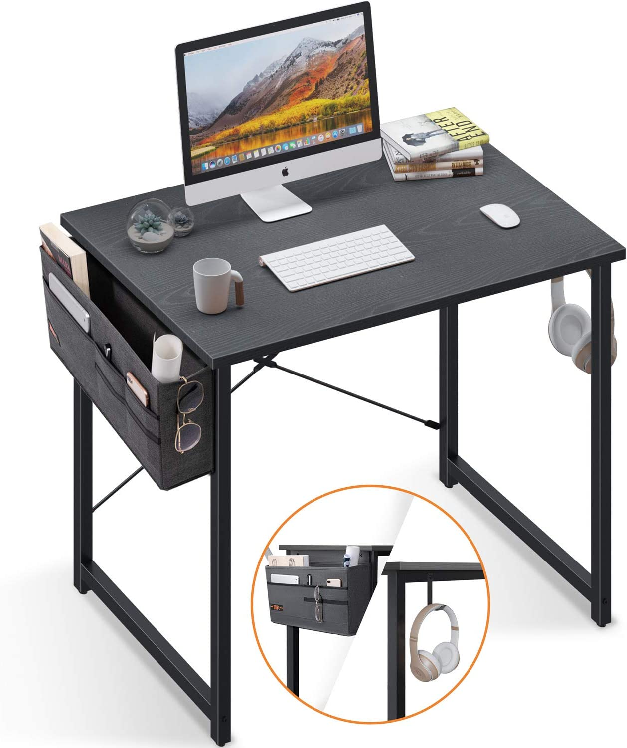 Computer Writing Desk 31 inch, Sturdy Home Office Table, Work Desk with A Storage Bag and Headphone Hook, Espresso Gray