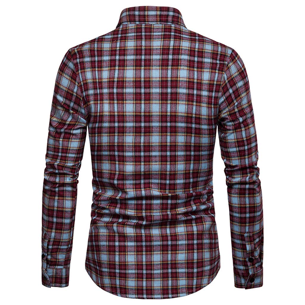 NUWFOR Men's Long Sleeve Lattice Plaid Painting Large Size Casual Top Blouse Shirts(Red,M US Chest:39.4''