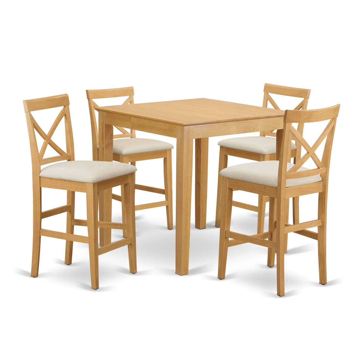 East West Furniture PUBS5-OAK-C 5-Piece Counter Height Table Set - Oak Finish