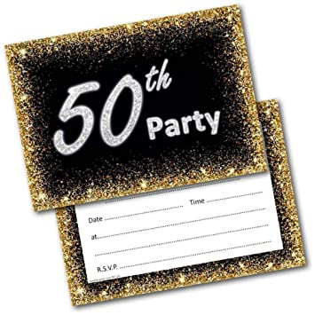 50th Birthday Party Invitations Age 50 Male Mens Female Womens Pack 20 Invites Amazoncouk Office Products