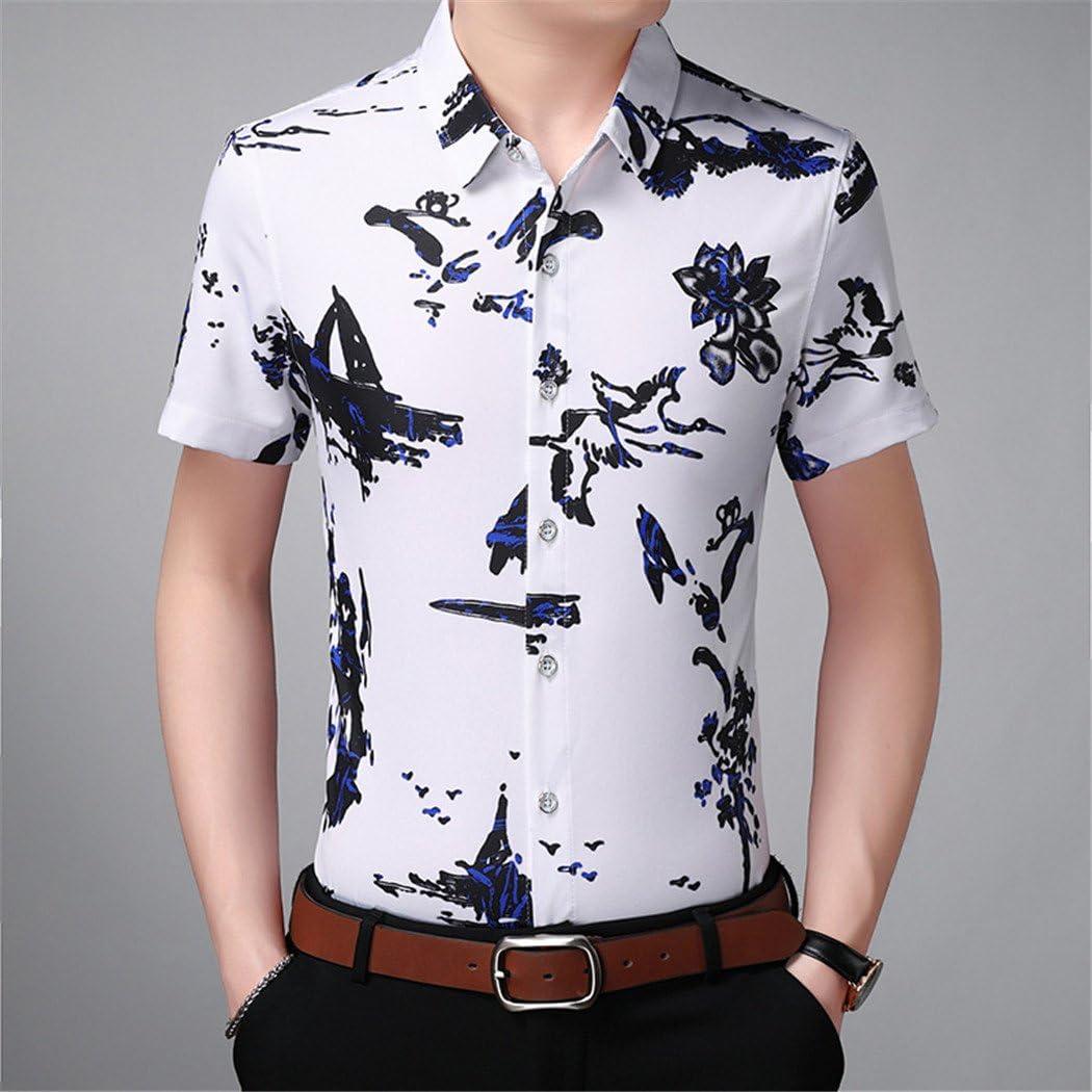 Camisa de Manga Corta Estampada XL de Tinta China para Hombres, Blanca, 5XL: Amazon.es: Deportes y aire libre