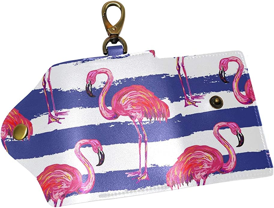 KEAKIA Exotic Pink Flamingo Birds Leather Key Case Wallets Tri-fold Key Holder Keychains with 6 Hooks 2 Slot Snap Closure for Men Women
