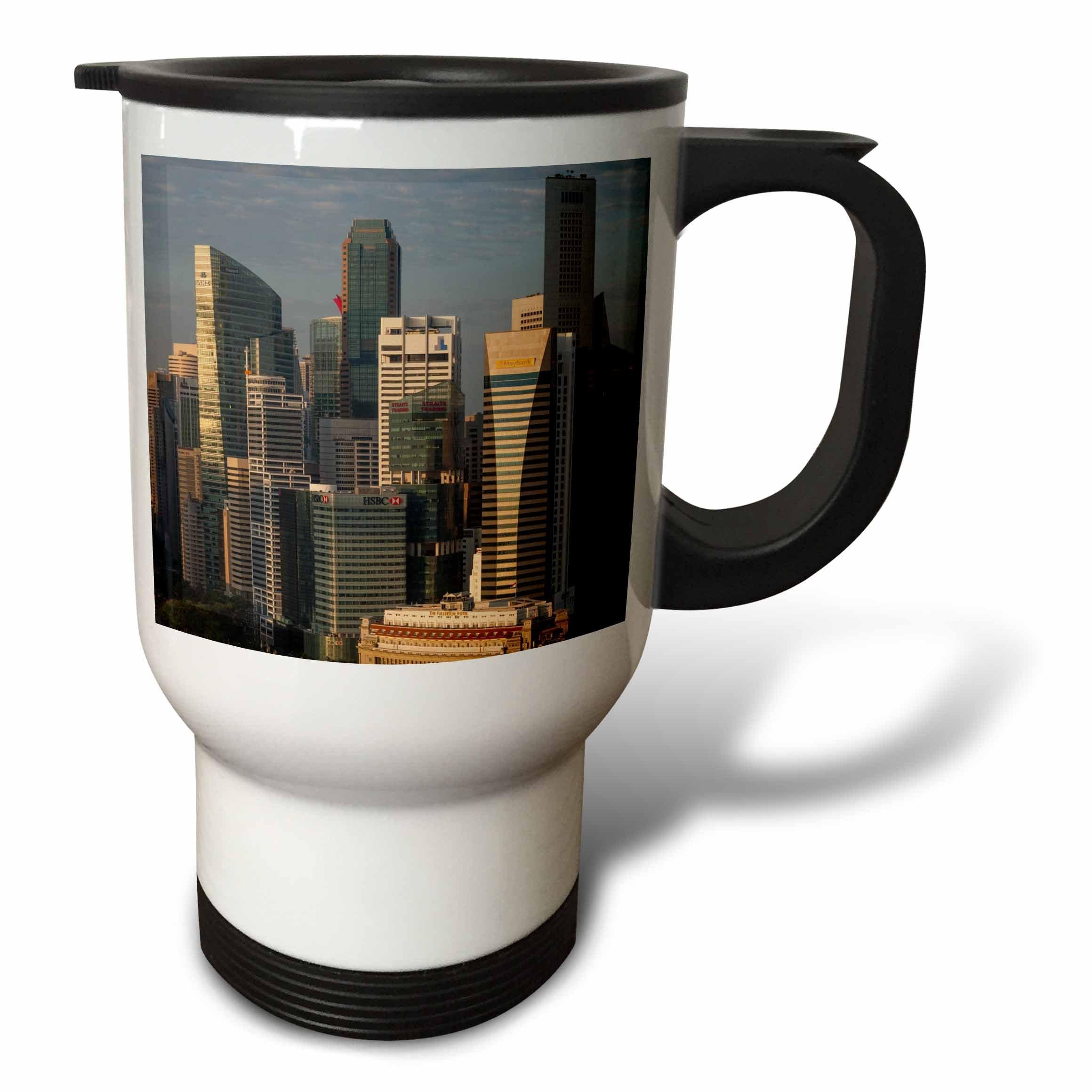 3dRose Danita Delimont - Cities - Singapore, elevated skyline view above Fullerton Hotel, dawn - 14oz Stainless Steel Travel Mug (tm_257279_1)