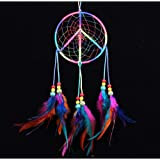 Peace sign Colorful Handmade Indian Style Real Feathers Dream Catcher Wall Hanging Car Hanging Decoration Ornament