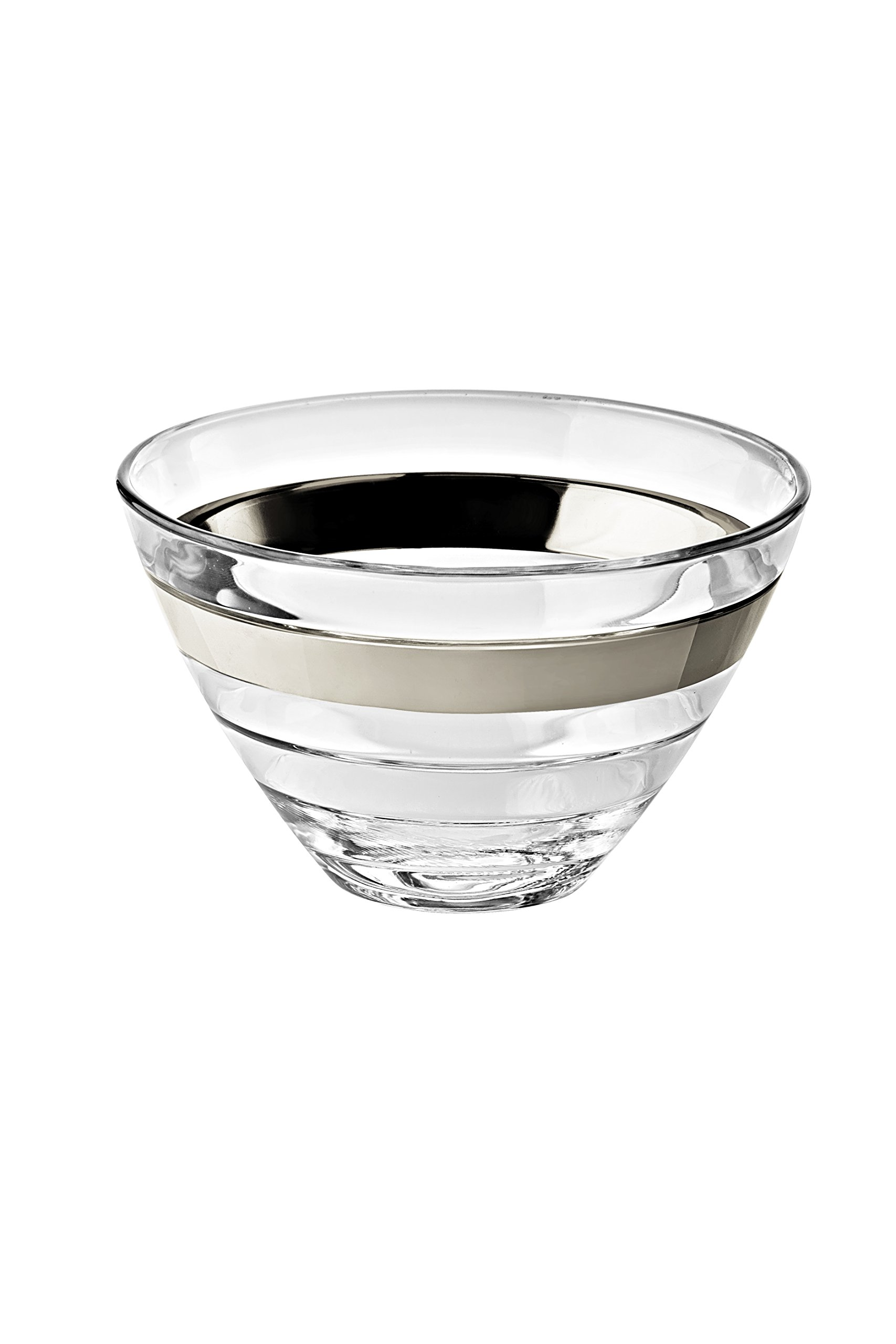 Majestic Gifts European Glass Individual Bowls with Platinum Band (Set of 6), Clear