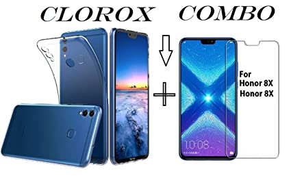 Clorox Huawei Honor 8X Tempered Glass + Back Cover Hybrid for Huawei Honor  8X (Combo Pack)