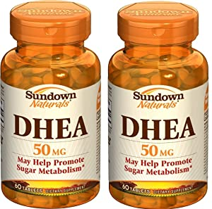 Sundown Naturals DHEA Energy Enhance Dietary Supplement Tablets, 50 mg, 60-Count Bottles (Pack of 2)