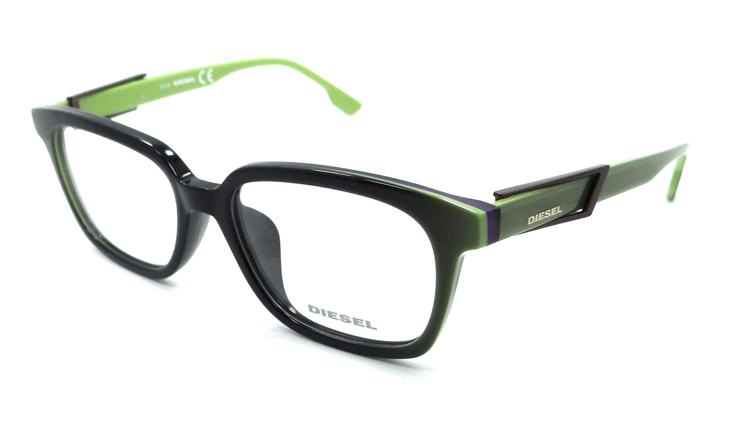 Diesel Rx Eyeglasses Frames DL5111-F 095 55-17-150 Black/Lime Green Asian Fit
