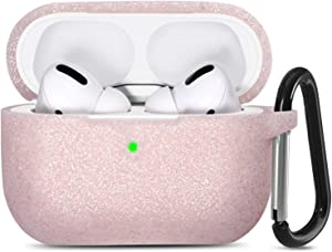 GEAK Bling Case for AirPods Pro [Front LED Visible] Silicone Protective Case Compatible with Apple AirPod Pro 2019, Glitter Rose Gold
