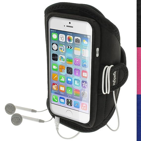 igadgitz Wasserabweisend Schwarz Sports Jogging Armband Laufen Fitness Oberarmtasche für Apple iPhone 6 & 6S 4.7 Zoll