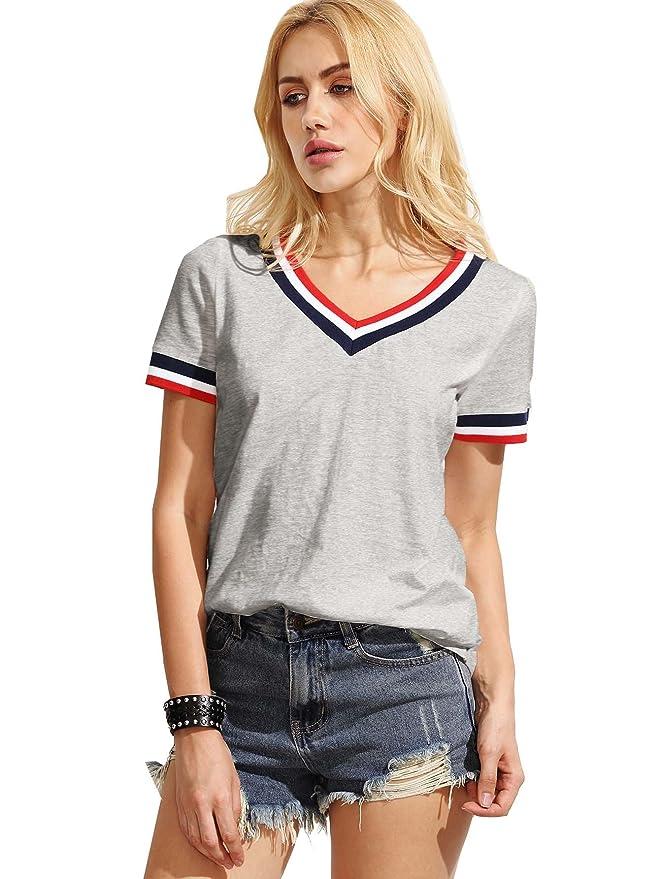 da89f7e744f1c ROMWE T-Shirt Femme Manches Courtes Coton Tops