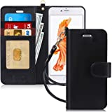 """FYY Case for iPhone 6S Plus/iPhone 6 Plus (5.5""""), [Kickstand Feature] Luxury PU Leather Wallet Case Flip Folio Cover with [Card Slots][Wrist Strap] for iPhone 6S+ Plus/iPhone 6+ Plus (5.5"""") Black"""