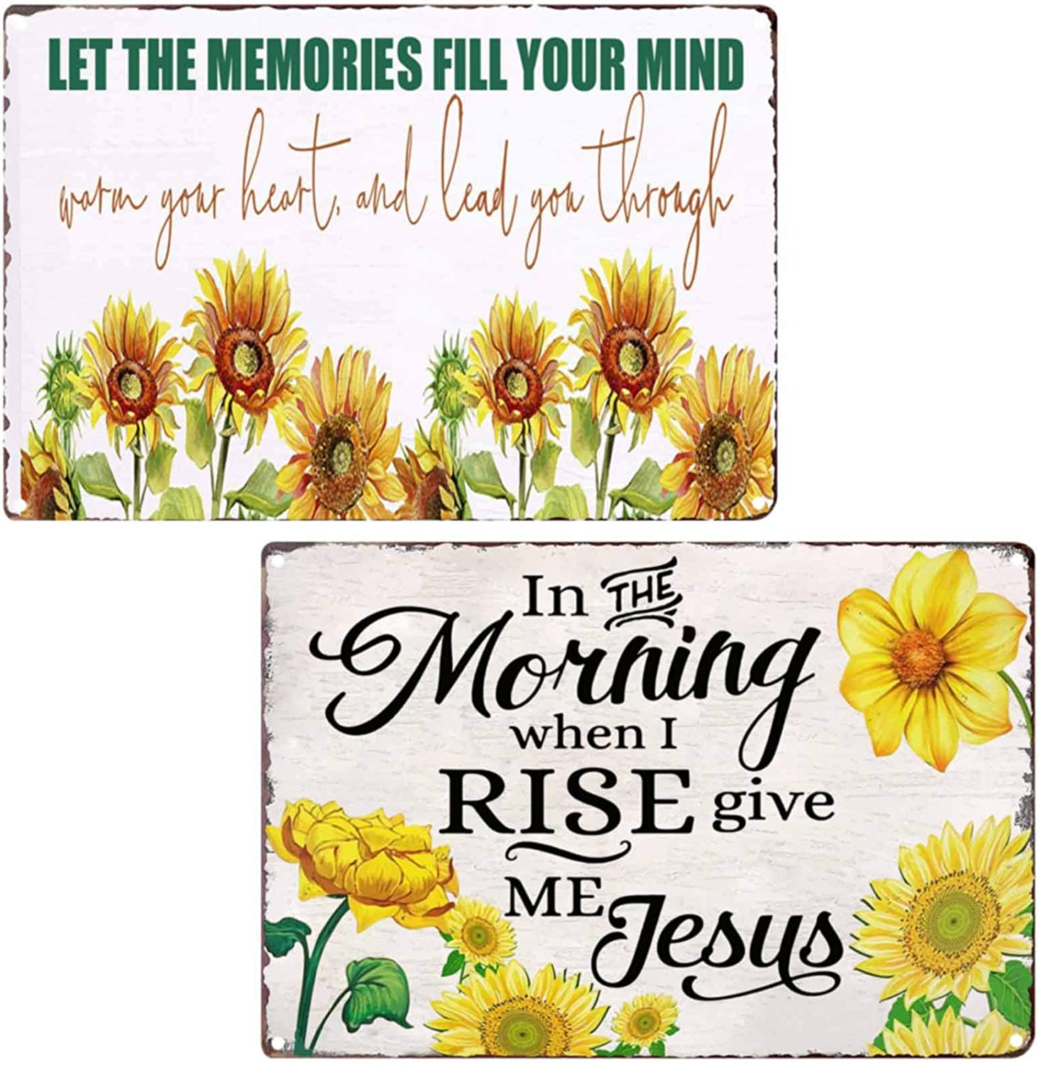 TISOSO Funny Quotes Sign in The Morning When I Rise Give Me Jesus Sunflowers Vintage Metal Tin Sign Wall Art Decor for Living Room Home Coffee Bar Signs Gifts Decoration 2Pcs-8X12Inch