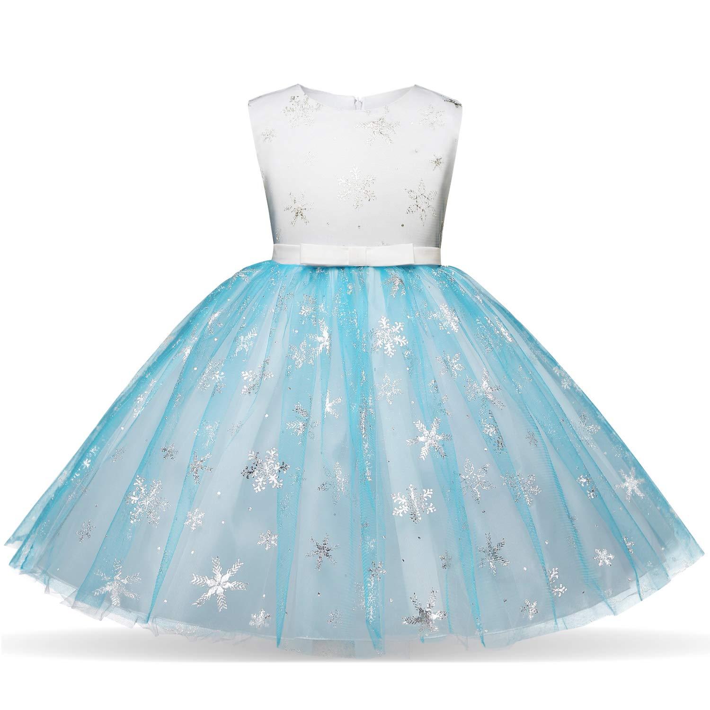 Girl Ice Flower Printed Cotton Elegant Tulle Bow Belt Princess Birthday Wedding Party Dress 2-8 Years