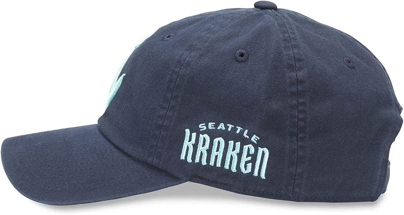 Navy Blue Line Collection Adjustable Buckle Strap Dad Cap Casual Relaxed Fit with Curved Brim 40742B-SEK-NAVY AMERICAN NEEDLE Seattle Kraken NHL Baseball Hat