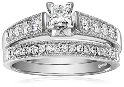 a802ff72d9f93 IGI Certified 14k White Gold Diamond Classic Bridal with Millgrain and  Princess Cut Center Wedding Ring Set (1 cttw, HI Color, I1-I2 Clarity)