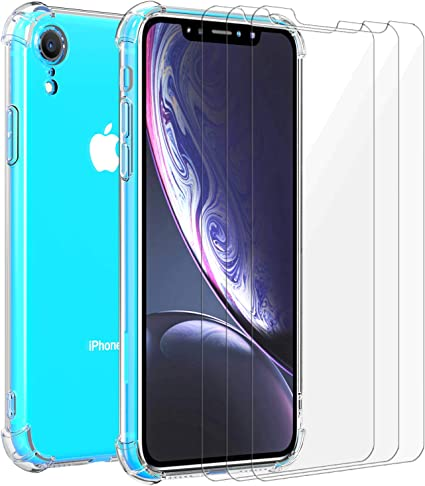 iVoler Custodia Cover per iPhone XR 3 Pezzi Pellicola Vetro Temperato, Ultra Sottile Morbido TPU Trasparente Silicone Antiurto Protettiva Case per ...