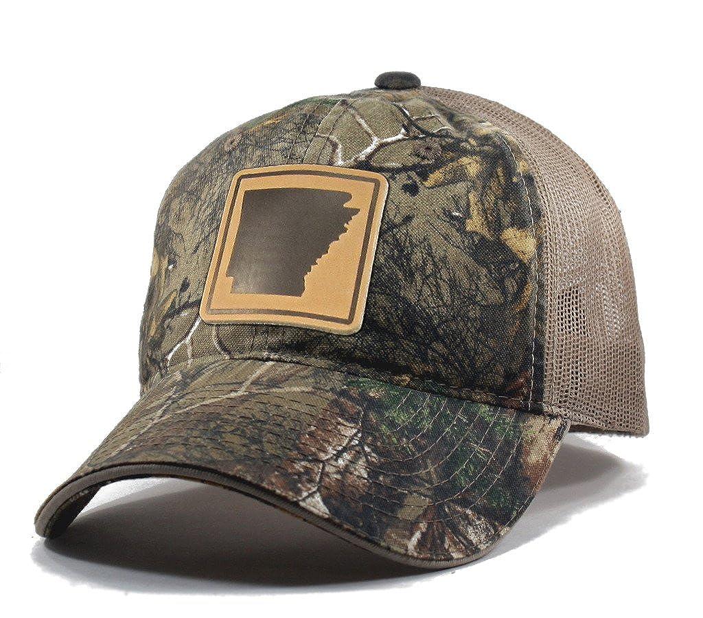 Homeland Tees Mens Arkansas Leather Patch Camo Trucker Hat