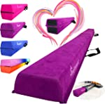 PreGymnastic Folding Balance Beam 8FT/9.5FT -Extra-Firm Suede Cover with Shinning Sticker