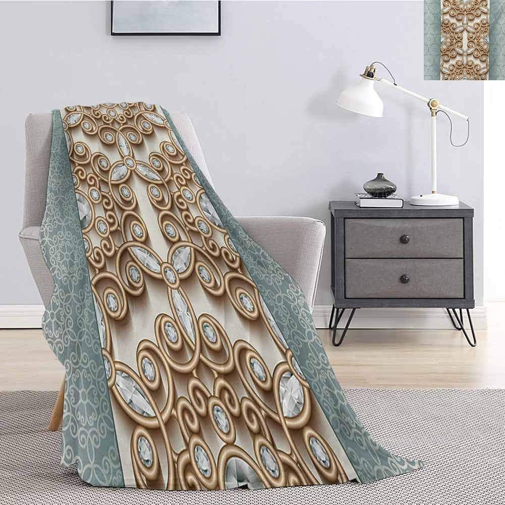 Luoiaax Diamond Flannel Throw Blanket for Couch Vintage Swirling Lines Ornament with Diamonds Over Damask Retro Style Boho Print for Living Room Bed or Couch Blanket W70 x L93 Inch Tan Teal