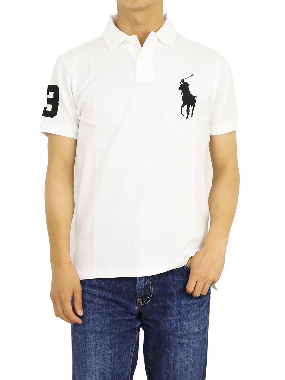 (ポロ ラルフローレン) POLO Ralph Lauren カスタムフィット メンズ ビッグポニー 半袖 鹿の子 ポロシャツ 0105554 [並行輸入品] B071XMGXNN US M (日本L相当) ホワイト/ブラック ホワイト/ブラック US M (日本L相当)