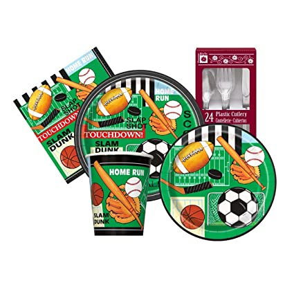 Classic Sports Themed Birthday Party Supply Kit Serves 8
