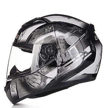 MATEROP Casco de Moto Diseño de Moda Cascos de Carreras de Cara Completa 10 L