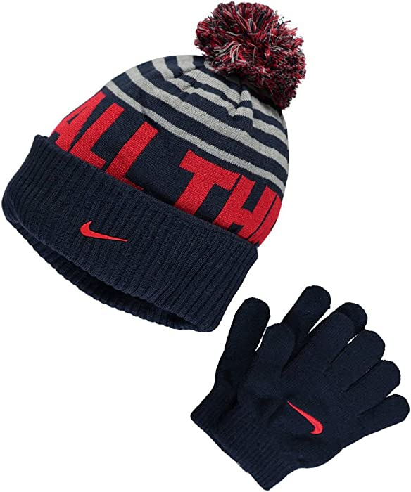 270db19f049c67 Amazon.com: Nike Knit Beanie & Gloves Set - obsidian/grey heather, l / xl:  Sports & Outdoors