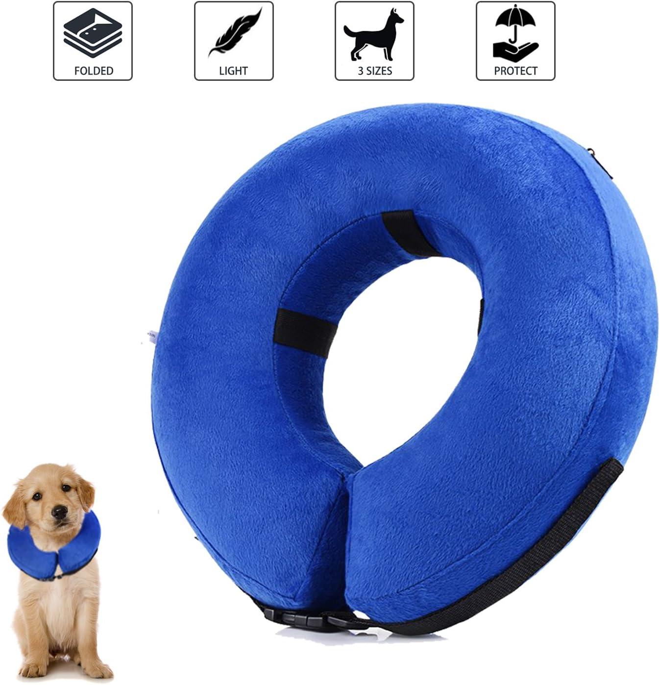 YAMI Collar de recuperación Inflable para Perros, Cono de Cuello isabelino Ajustable para Mascotas Recuperación de cirugía o heridas (S)