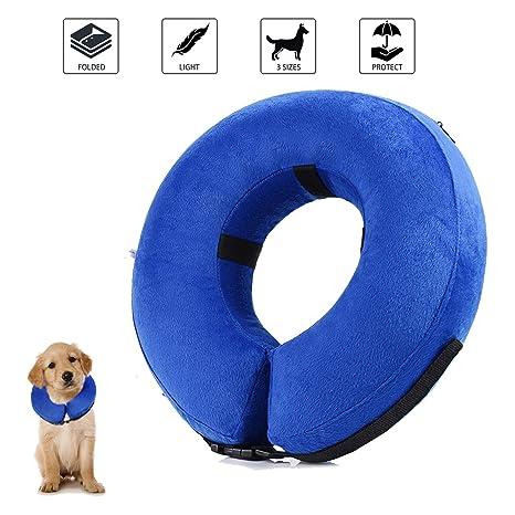 Collar de recuperación inflable para perros, cono de cuello isabelino ajustable para mascotas Recuperación de