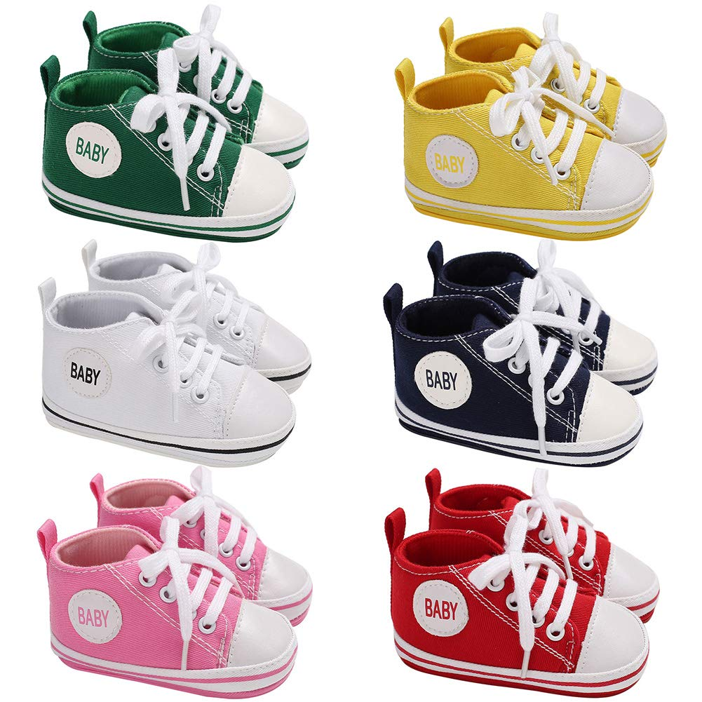 Alamana Fashion Letter Canvas Baby Infant Soft Anti-Slip Lace-up Prewalker Toddler Shoes Green 12 6-8M