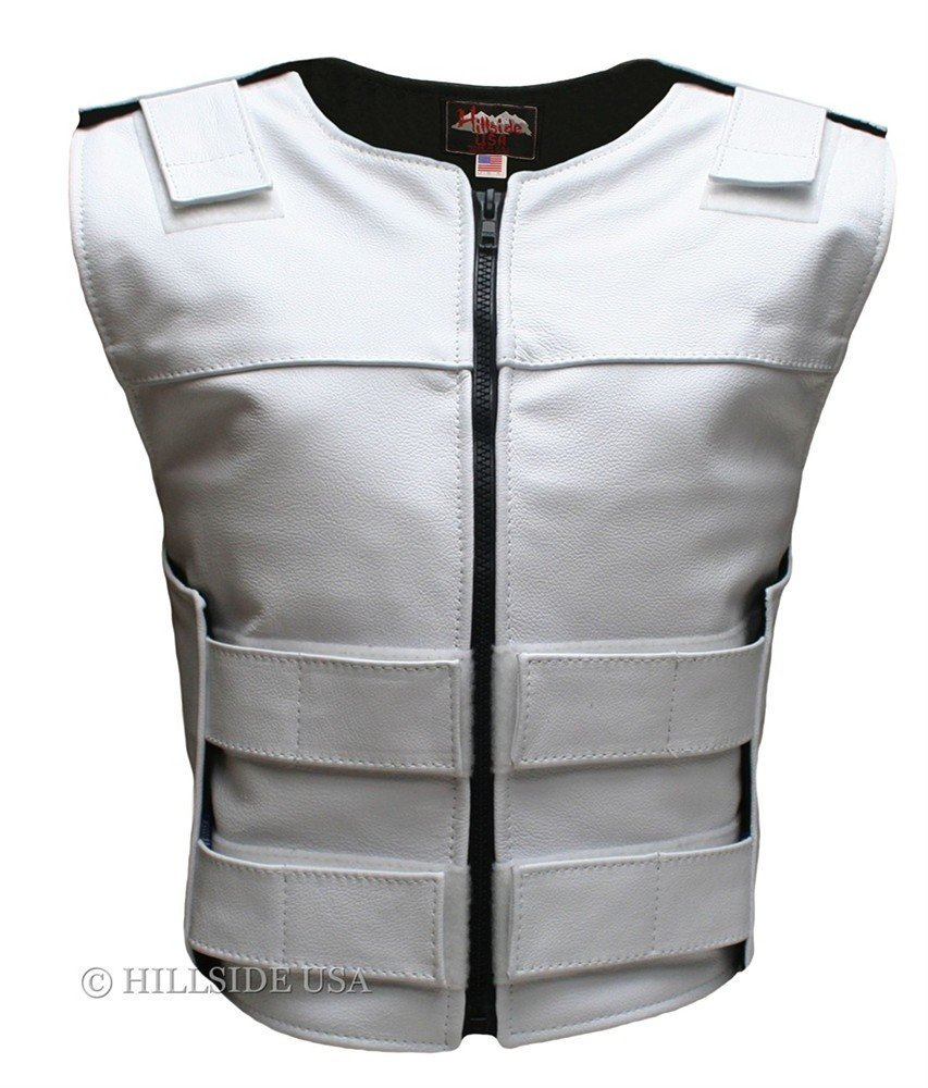 Hillside USA Womens Made In USA Zippered Bullet Proof Tactical Style Leather Motorcycle Vest All Colors Tall Size White