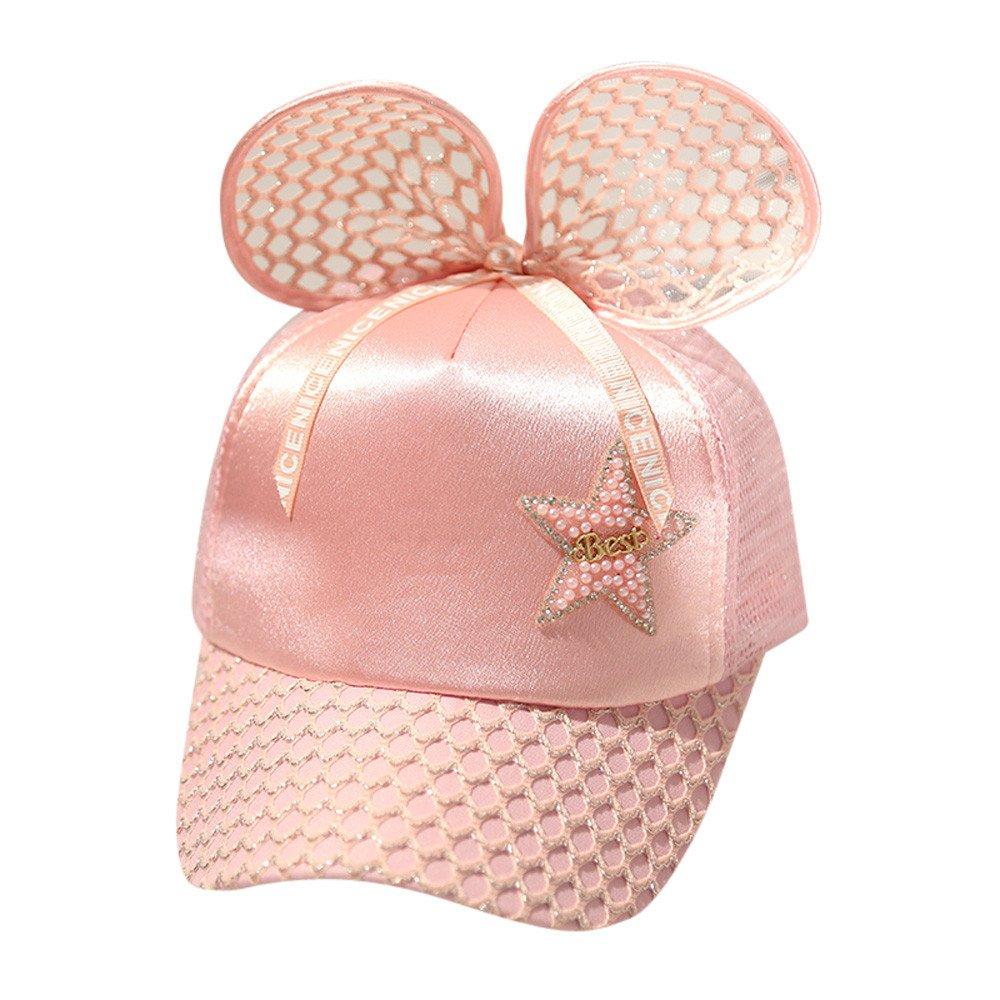 fenleo Baby Girls調整可能Star夏野球キャップSun Hat with Ear  ピンク B07CTCWX79