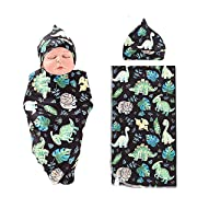 NZRVAWS Newbron Receiving Blankets for Boys Dinosaur Baby Swaddle Wrap Soft Zoo Receiving Blankets for Baby Hat by Random