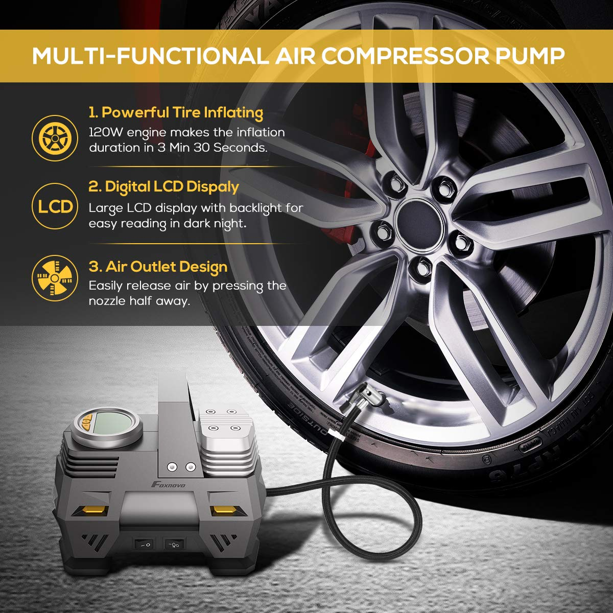 Foxnovo Air Compressor Pump, Digital Tire Inflator 150 PSI DC 12V Low Noise Tire Air Compressor Portable with Larger Air Flow 35L/Min, LED Light, Overheat Protection, Extra Nozzle Adaptors and Fuse by Foxnovo (Image #4)