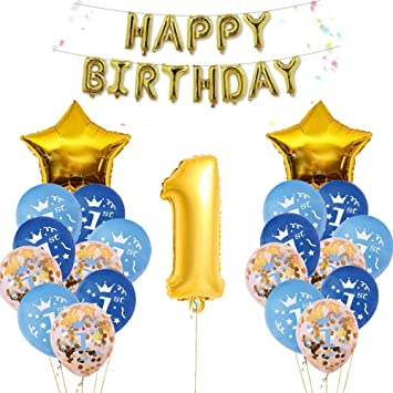 Nvetls 1er Cumpleaños Bebe Globos Decoracion Cumpleaños 1 Año Bebe Niño y Niña (Dorado Azul)