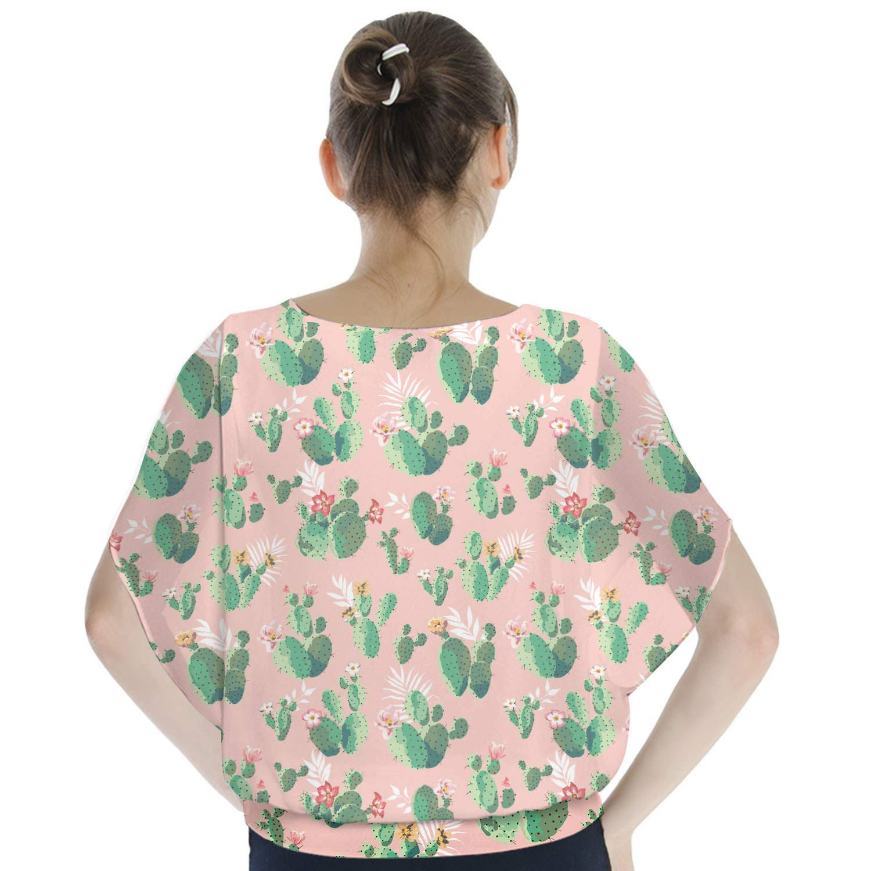 Cactus in Bloom Batwing Chiffon Top